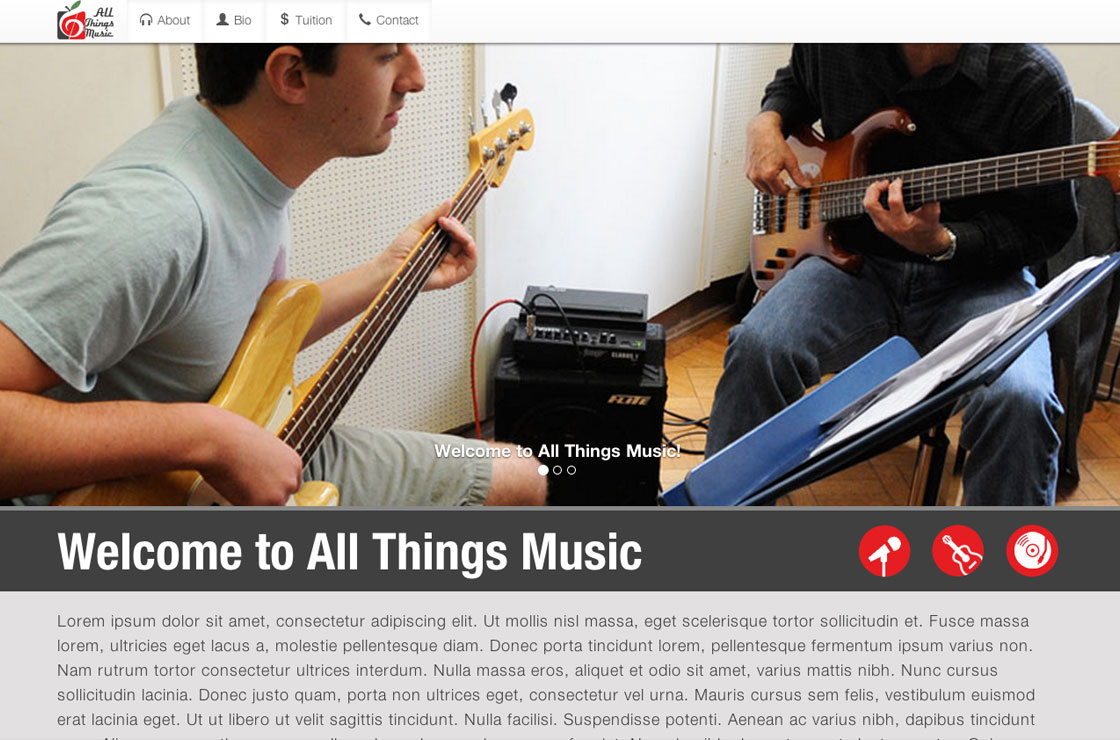 All Things Music website screenshot