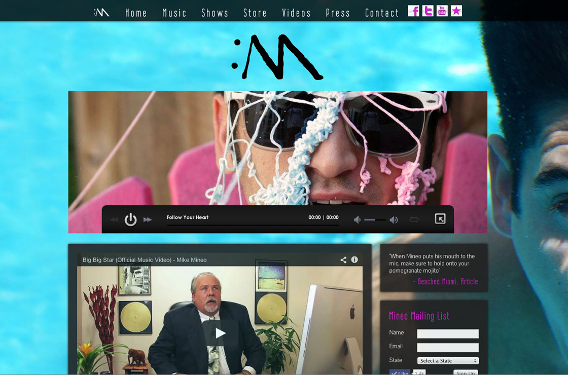 Mineo Music website screenshot
