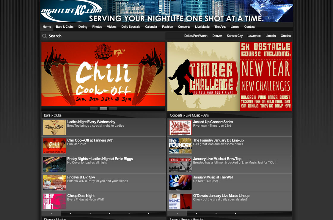 night life kansas city web design screenshot