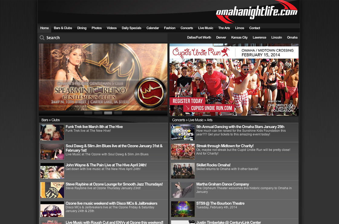 Omaha Night Life web design screenshot