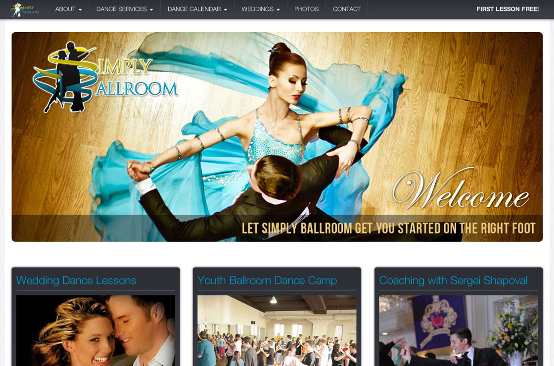 Simply Ballroom web design screenshot