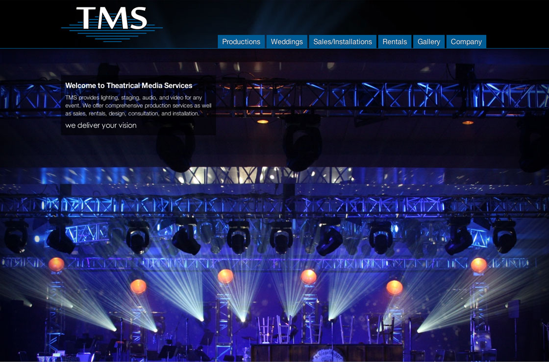 TMS Lighting website screenshot